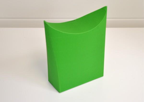Standtasche aus Wellpappe - GRÜN - Geschenkschachtel